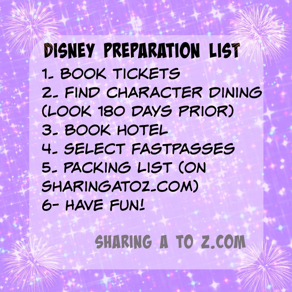 Disney preparation list